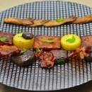 Céleri rave au soja, champignons, lard fumé